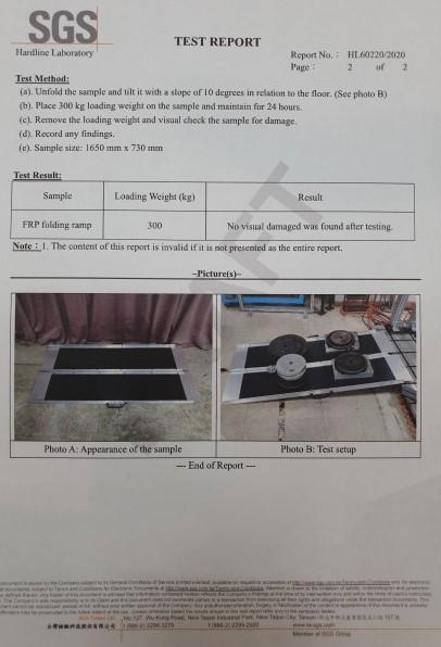 左右折疊式玻璃纖維斜坡板承重300公斤通過SGS認證