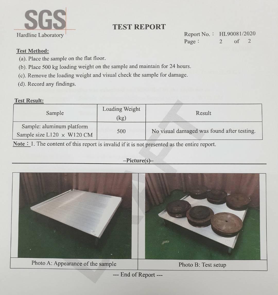 鋁合金平台 承重500公斤通過SGS認證