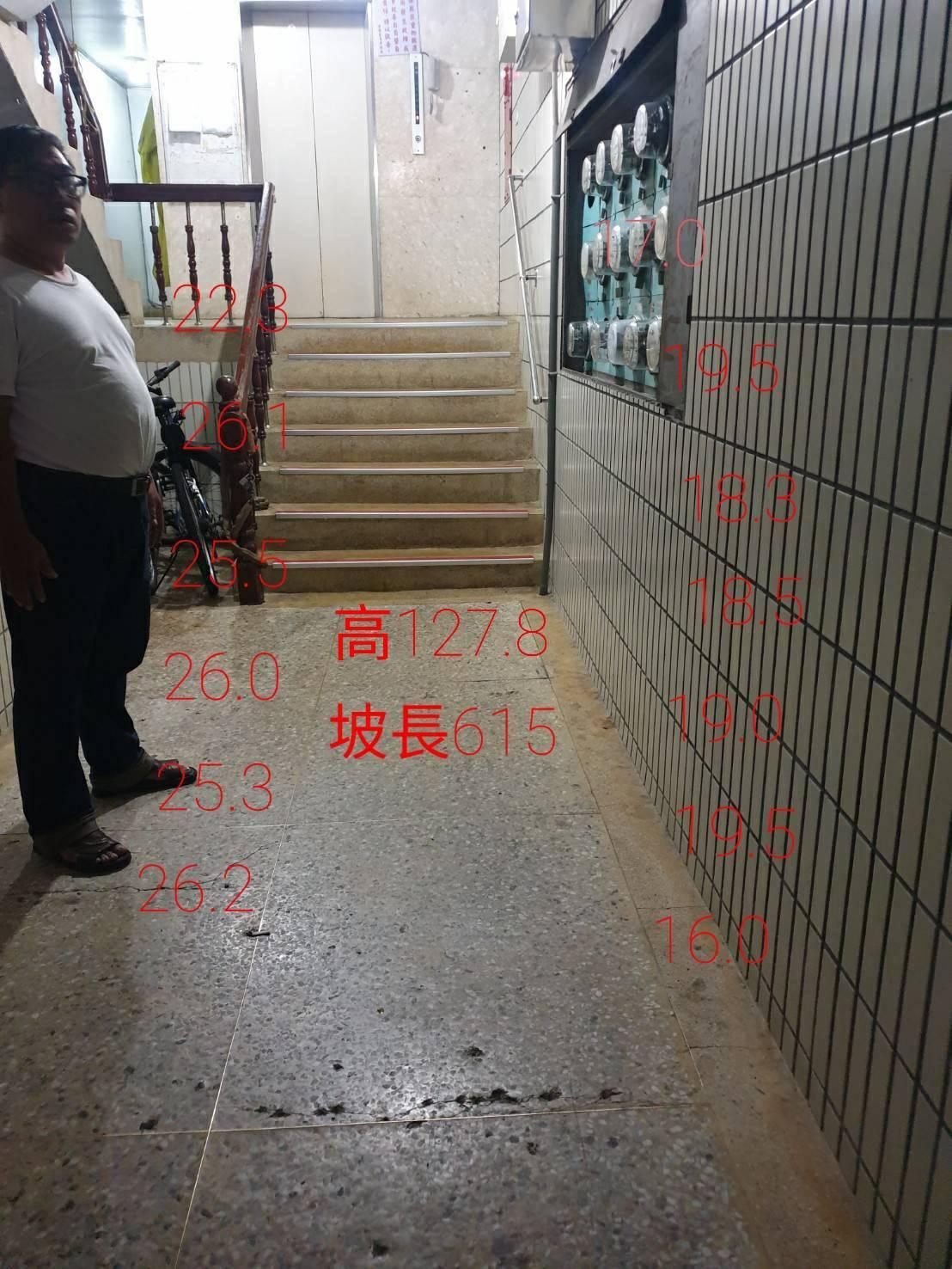 樓梯高度127.8公分阻礙輪椅上下